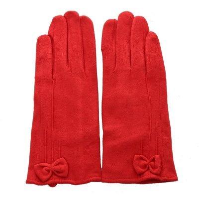 Handschoenen Chic Bow rood rode Gloves dames handschoenen met strikje suede feel fashion winter warme wanten