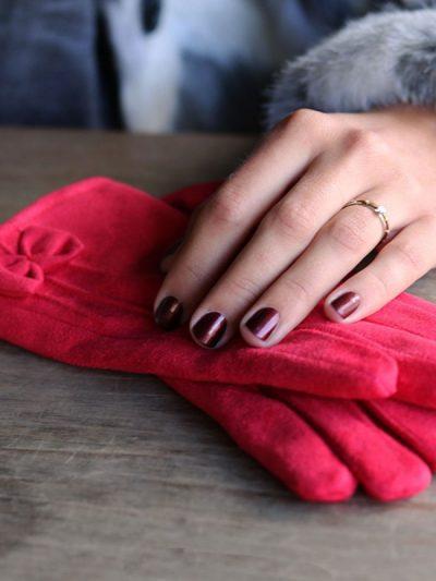Handschoenen Chic Bow rood rode Gloves dames handschoenen met strikje suede feel fashion winter warme wanten bestellen nu
