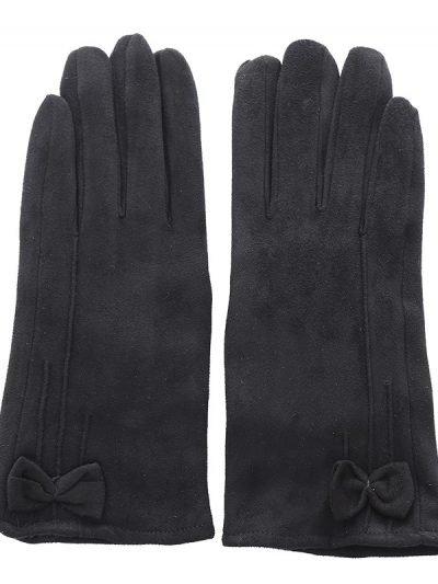 Handschoenen Chic Bow zwart zwarte Gloves dames handschoenen met strikje suede feel fashion winter warme wanten