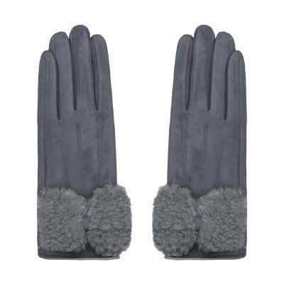 Handschoenen Sheep Fur grijs grijze dames handschoen leer fake fur warme winter accessoires