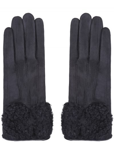 Handschoenen Sheep Fur zwart zwarte dames handschoen leer fake fur warme winter accessoires