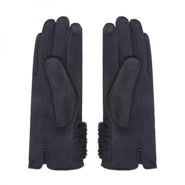 Handschoenen Sheep Fur zwart zwarte dames handschoen suedine fake fur