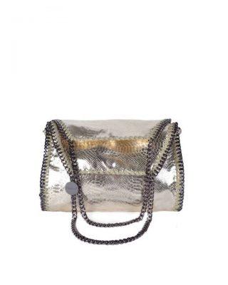 Handtas-Metallic-Chain L snake goud gouden -dames-tas-tassen-giuliano-it-bags-schoudertas-luxe-goedkope-bags-online