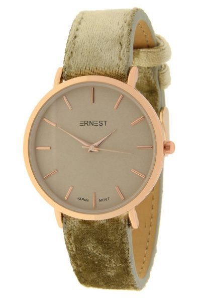 Horloge-Velvet-Nox-Rose-khaki kaki groen-ernest-dames-horloges-suede-velvet-band-rose-kast-musthave-horloges-watches-ladies ernest-horloge-rose-nox-velvet-