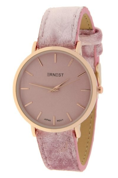 Horloge-Velvet-Nox-Rose-licht roze pink-ernest-dames-horloges-suede-velvet-band-rose-kast-musthave-horloges-watches-ladies ernest-horloge-rose-nox-velvet-