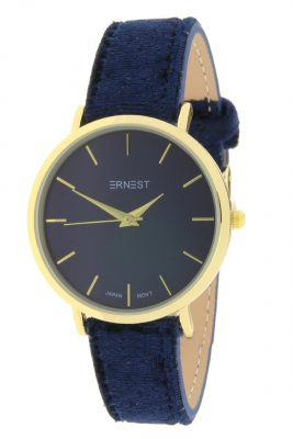 Horloge Velvet Nox goud blauw blauwe ernest dames horloges suede velvet band rose kast musthave horloges watches ladies