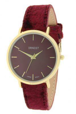 Horloge Velvet Nox goud rood rode bordeaux ernest dames horloges suede velvet band rose kast musthave horloges watches ladies