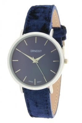 Horloge Velvet Nox zilver blauw blauwe ernest dames horloges suede velvet band rose kast musthave horloges watches ladies