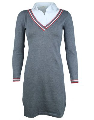 Jurk Levi grijs grijze half lange wollen dames jurk met witte blouse hals winter jurken dames chique office dress grey