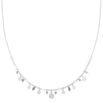 Ketting Be Happy zilver zilveren kettingen rode steentjes muntjes fashion sieraden kopen