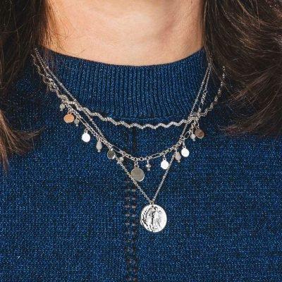 Ketting Be Happy zilver zilveren kettingen rode steentjes muntjes fashion sieraden kopen layers laagjes