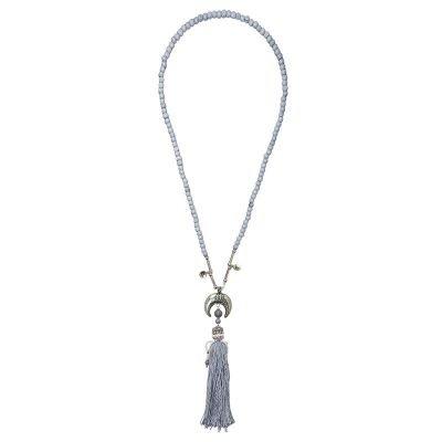 Ketting Halve Maan grijs grijze lange dames kettingen met zilveren maan bedel en wollen kwastje boho kettingen