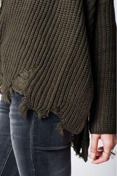 Khaki Trui Patches groen groen kaki dames truien dikke winter kleding warme sweater sweaters online bestellen fashion