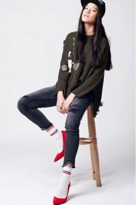 Khaki Trui Patches groen groen kaki dames truien dikke winter kleding warme sweater sweaters online bestellen fashion patch musthave