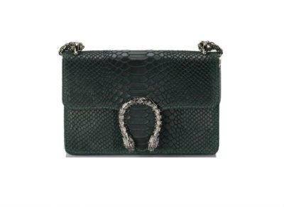 Leren-Tas-Diony-Snake-M-groen-groene-klep-sluiting-flap-zilveren-dierenkop-slangenkop-sluiting-kettinghengsel-lederen-tassen-slangenprint-online-look