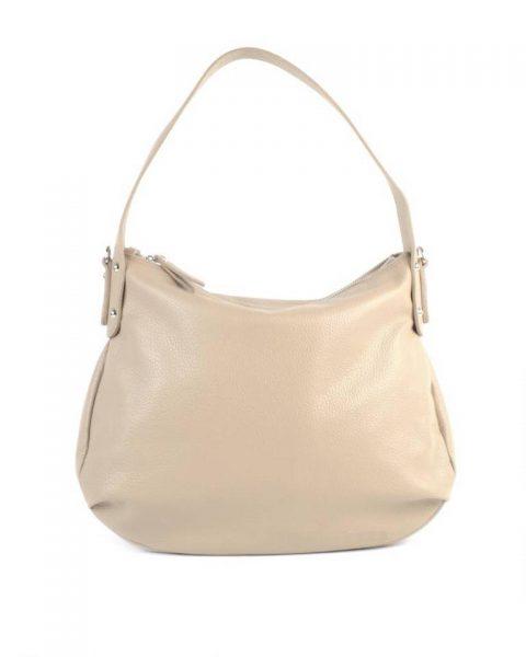 Leren Tas Miley taupe lederen handtassen tassen zilver beslag musthave giuliano leer italiaans dames it bags online