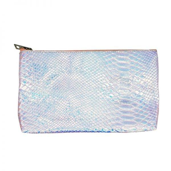 Make-up tasje Sweet Mermaid wit witte metallic snake slangenprint etui dames tasjes fashion musthave online kopen