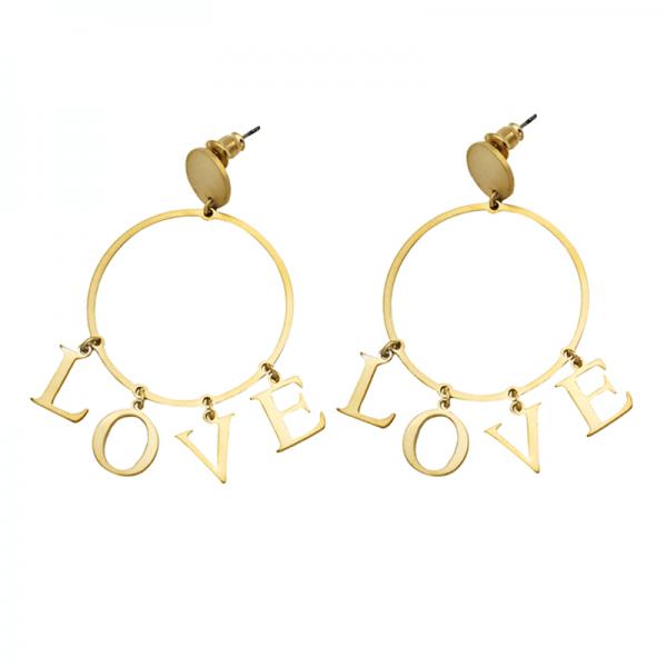 Oorbellen Hoop Love goud gouden ronde oorbel love letters earring earcandy statement kopen