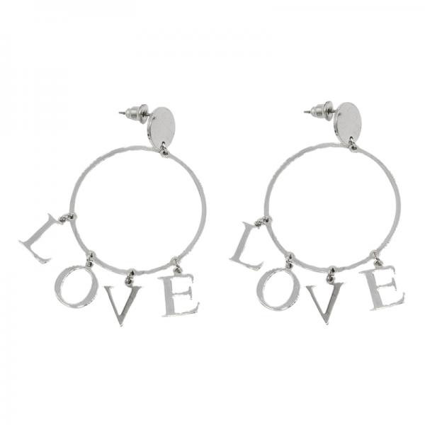 Oorbellen Hoop Love zilver zilveren ronde oorbel love letters earring earcandy statement kopen