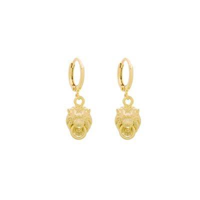 Oorbellen Lions goud gouden dames oorbellen dierenkop deurklopper oorhangers creolen kopen bestellen