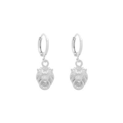 Oorbellen Lions zilver zilveren dames oorbellen dierenkop deurklopper oorhangers creolen kopen bestellen