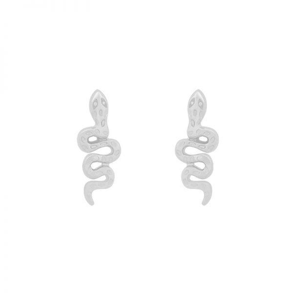 Oorbellen Snake zilver zilveren oorbel slang vorm kleine earrings