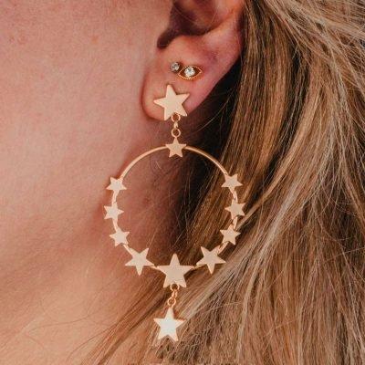 Oorbellen Star Dreams goud gouden ronde oorbel sterren ster earring earcandy statement bestellen