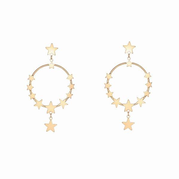 Oorbellen Star Dreams goud gouden ronde oorbel sterren ster earring earcandy statement kopen