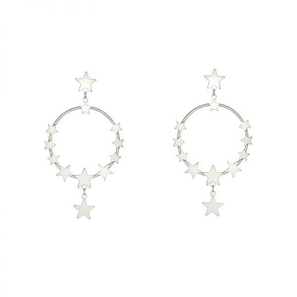 Oorbellen Star Dreams zilver zilveren ronde oorbel sterren ster earring earcandy statement kopen
