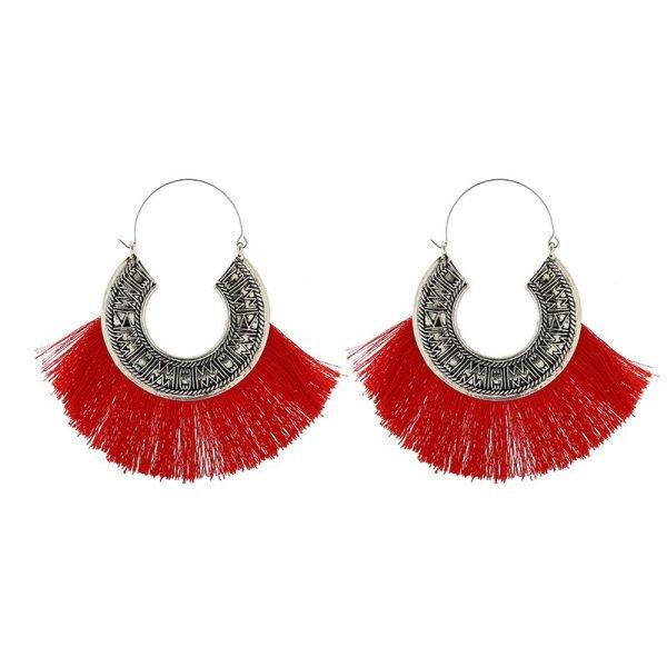 Oorbellen Tassel Mania zilveren oorhangers met rood rode fringe touw aztec mode accessoires dames vrouwen musthaves