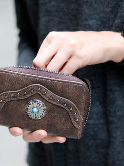 Portemonnee Ethnic Details grijs grijze boho Wallet dames Portemonnees clutches clutch tasjes zilver & blauwe steen kopen