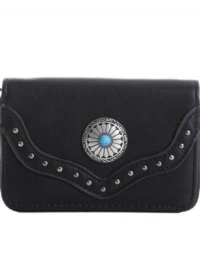 Portemonnee Ethnic Details zwart zwarte boho Wallet dames Portemonnees clutches clutch tasjes zilver & blauwe steen