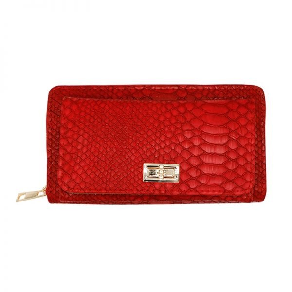 Portemonnee Stylish Croco rood rode kroko crocoprint dames poremonnees clutches Wallet wallets musthave fashion online