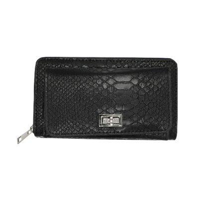 Portemonnee Stylish Croco zwart zwarte black kroko crocoprint dames poremonnees clutches Wallet wallets musthave fashion online