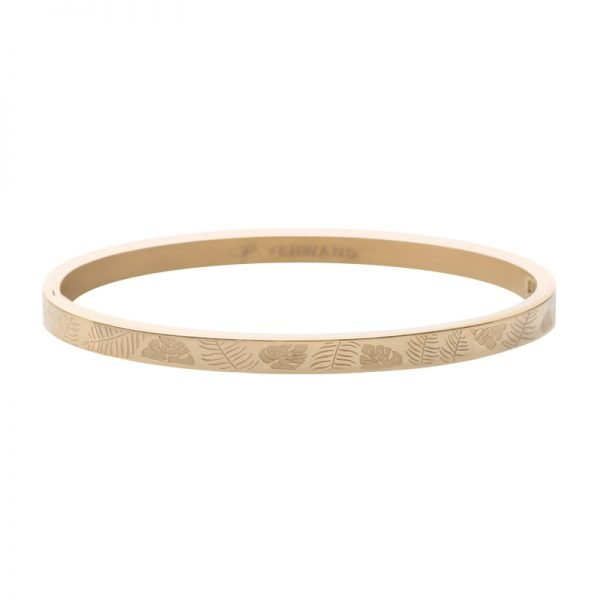 RVS Bangle Jungle Fever goud gouden armband armbanden bracelet blaadjes leaves fashion kopen armcandy