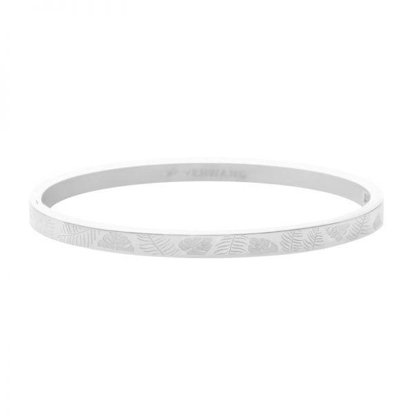 RVS Bangle Jungle Fever zilver zilveren armband armbanden bracelet blaadjes leaves fashion kopen armcandy