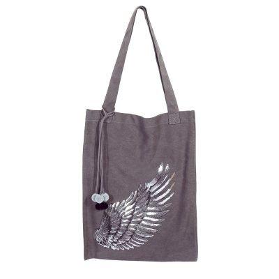 Shopper Glitter Wing grijs grijze canvas tas tassen meiden zilveren vleugel detail musthave grote dames tassen online fashion