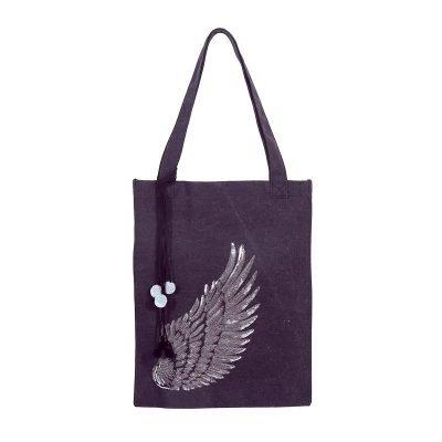 Shopper Glitter Wing zwart zwarte canvas tas tassen meiden zilveren vleugel detail pom poms musthave grote dames tassen online fashion