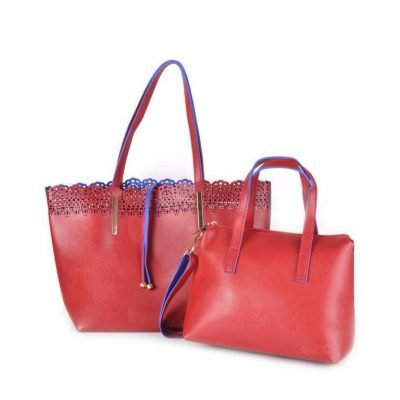 Shopper Linda rood rode kunstlederen tassen blauwe voering bag in bag binnentas etui fashion it bags online black