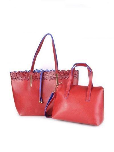 Shopper Linda rood rode kunstlederen tassen blauwe voering bag in bag binnentas etui fashion it bags online black