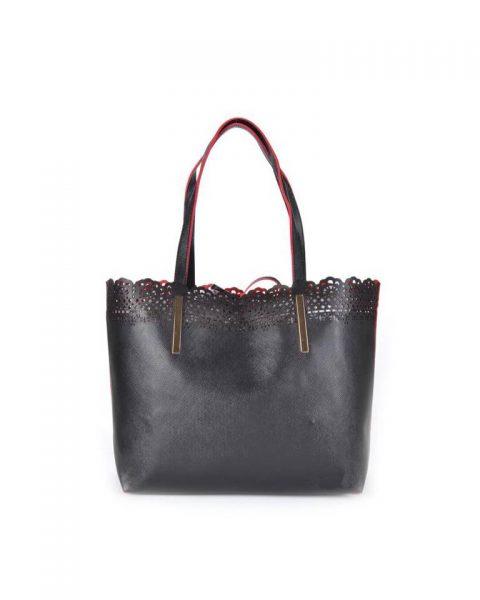Shopper Linda zwart zwarte kunstlederen tassen rode voering bag in bag binnentas etui fashion it bags online black