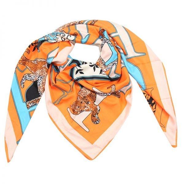 Sjaal Silky Leopard oranje blauwe print sjaals omslagdoeken zijde zachte sjaalsjes musthave fashion goedkope vierkante