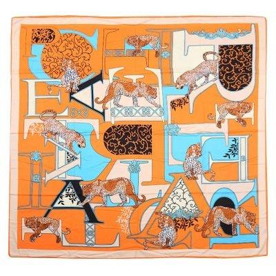 Sjaal Silky Leopard oranje blauwe print sjaals omslagdoeken zijde zachte sjaalstjes musthave fashion goedkope vierkante sjaals