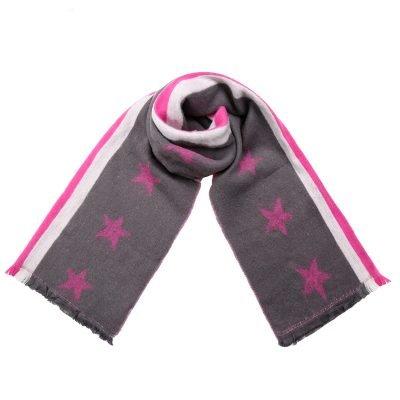 Sjaal Stripes Stars grijs grijze lange warme dikke dames sjaals roze sterren en strepen kopen