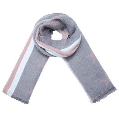 Sjaal Stripes Stars licht grijs grijze lange warme dikke dames sjaals roze sterren en strepen kopen