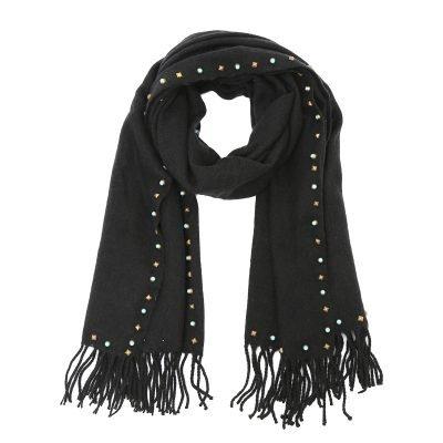 Sjaal-Studs-zwart zwarte-lange-warme-wollen-sjaal-met-gekleurde-gouden-studs-dames-sjaals-omslagdoeken-winter