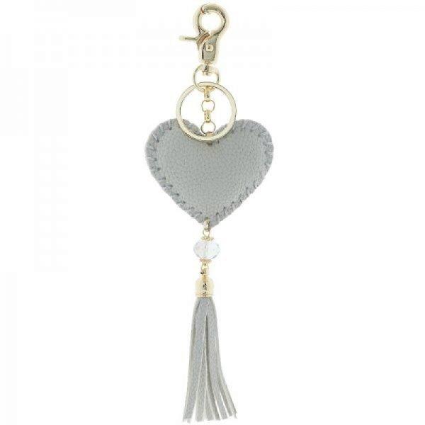 Sleutelhanger Hart grijs grijze key chain heart fringe tassen hanger dames fashion accessoires online bestellen musthaves