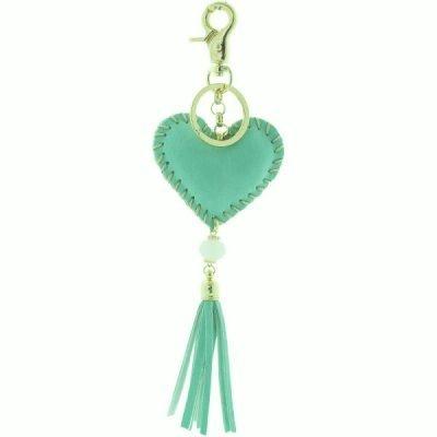 Sleutelhanger Hart mint turquoise key chain heart fringe tassen hanger dames fashion accessoires online bestellen musthaves