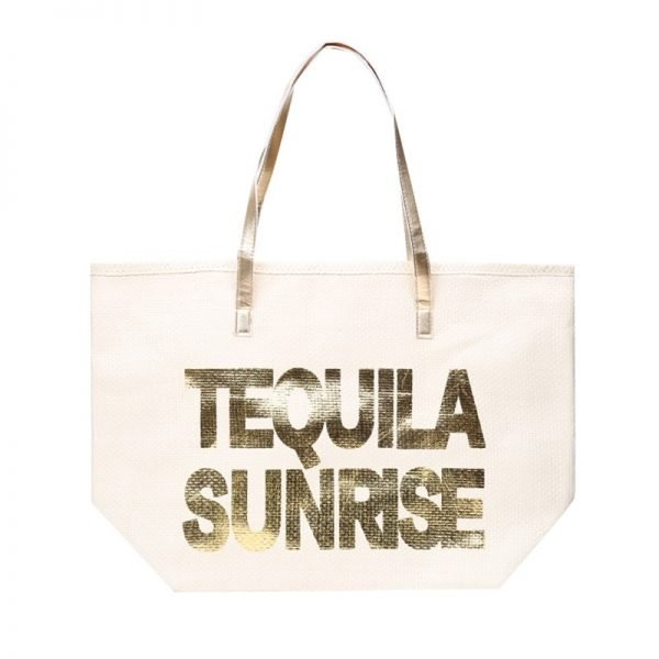 Strandtas Tequila Sunrise creme beige off white grote strandtassen met gouden letters en handvat beachbags strandtas zomer tassen