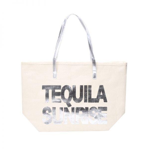 Strandtas Tequila Sunrise creme beige off white grote strandtassen met zilver zilveren letters en handvat beachbags strandtas zomer tassen